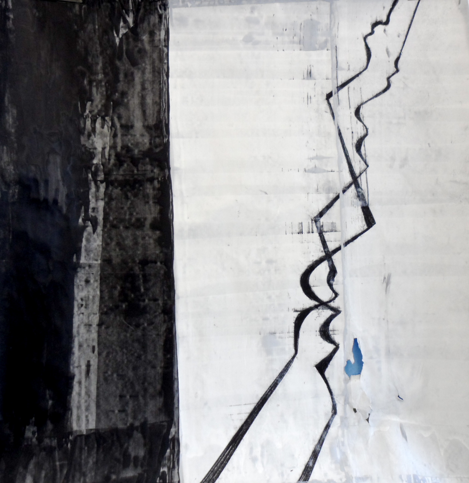 Falling 5, Acrylic and charcoal on paper