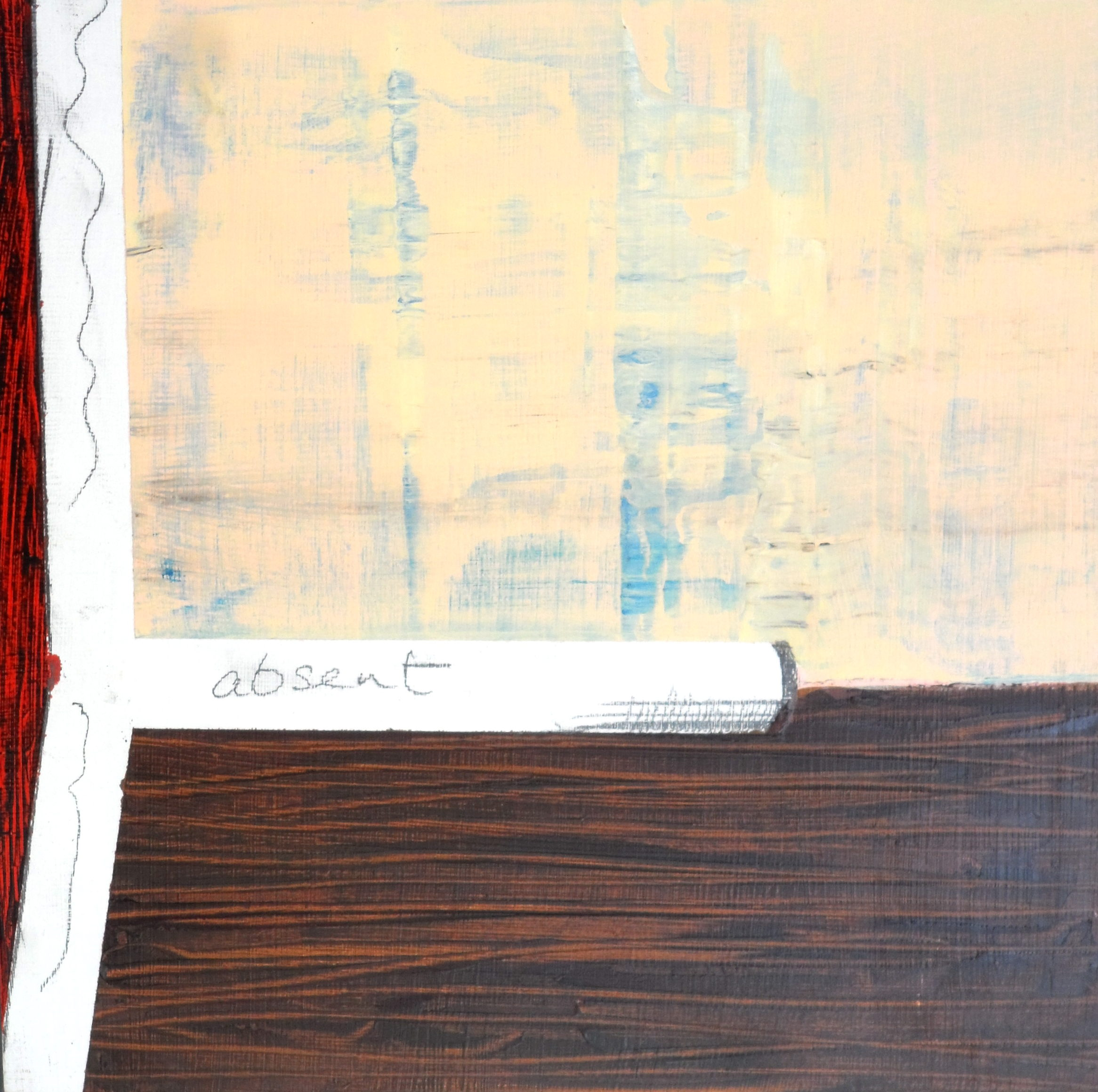 Absentee 2, Acrylic, oil and pencil on board