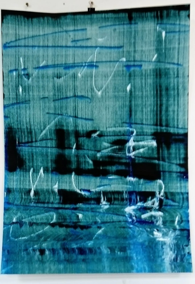 Slider: Green/Black, Blue, White, Acrylic on Hahnemuhle paper