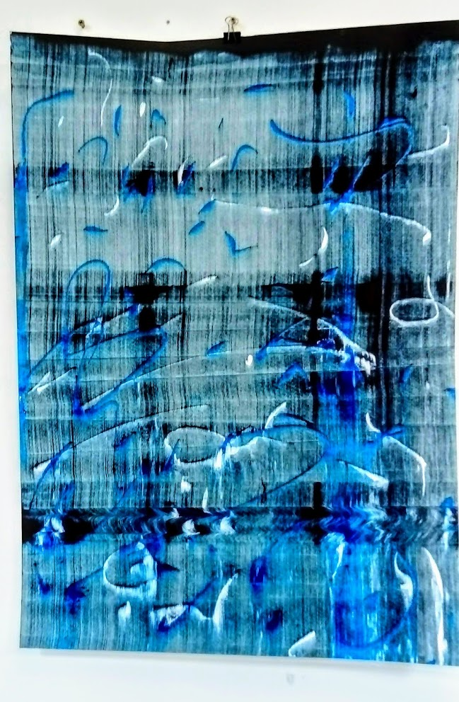 Slider: Blue/Black, Blue, White, Acrylic on Hahnemuhle paper
