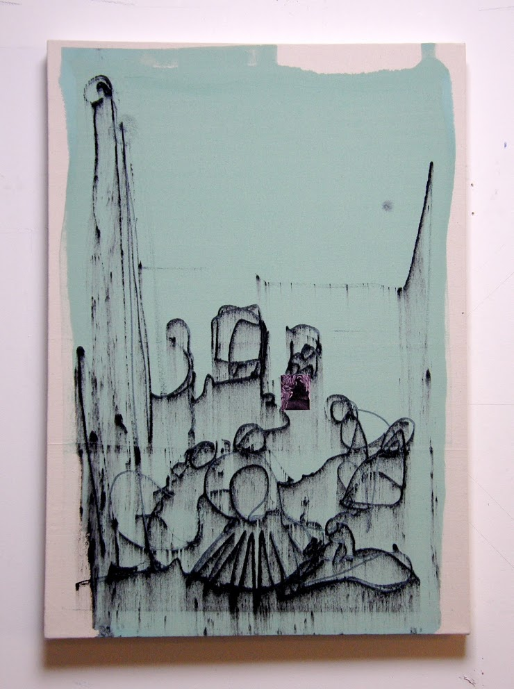 Slip: Green, Nod to Las Meninas, Acrylic on canvas