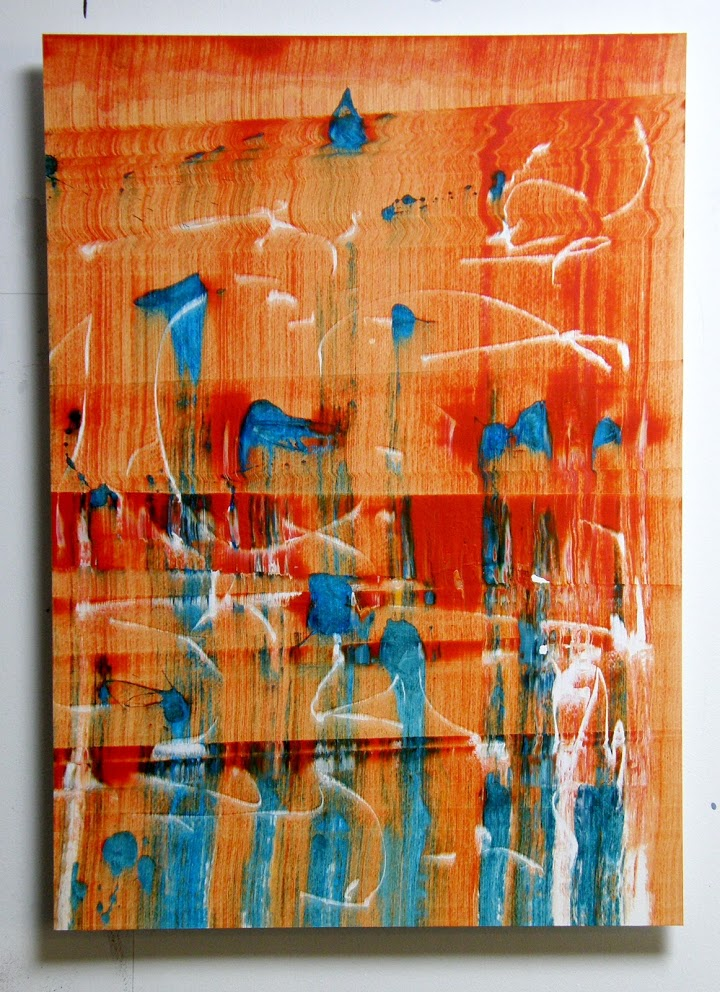 Slider: Orange, Blue, White, Acrylic, Hahnemuhle paper on Dibond