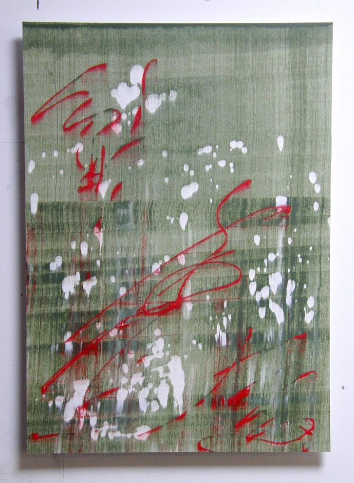 Slider: Green, Red, White, Acrylic, Hahnemuhle paper on Dibond