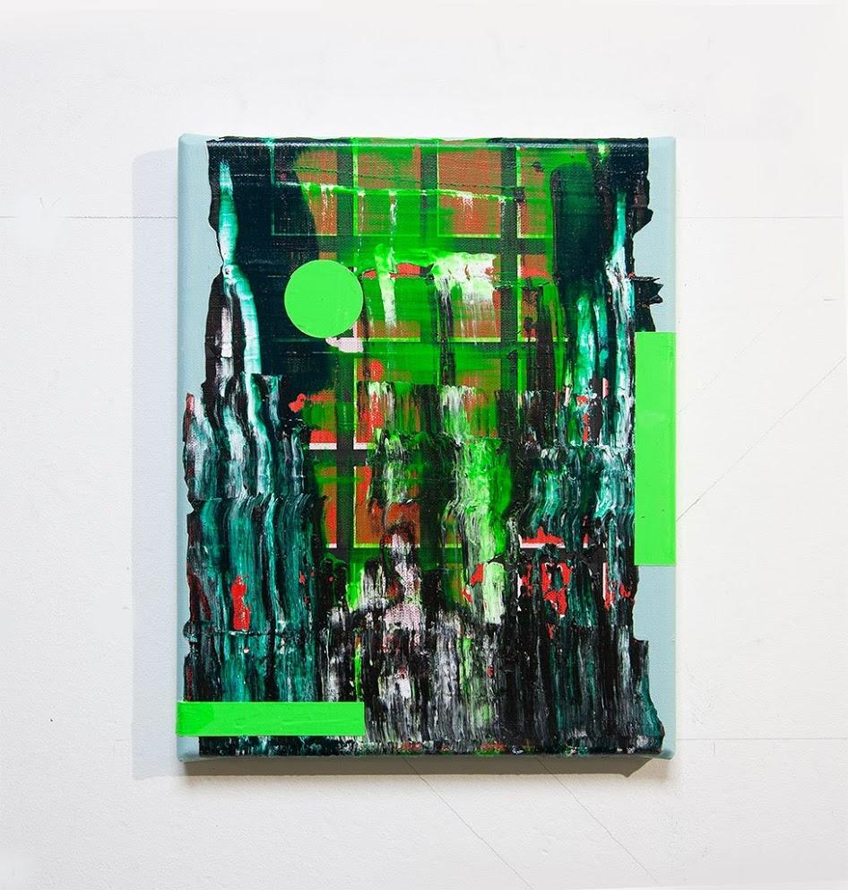 Green Rider, acrylic on canvas, 30 x 24 x 2 cm